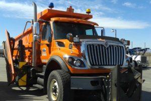 Snow plow dump truck Patrick's Mobile orange