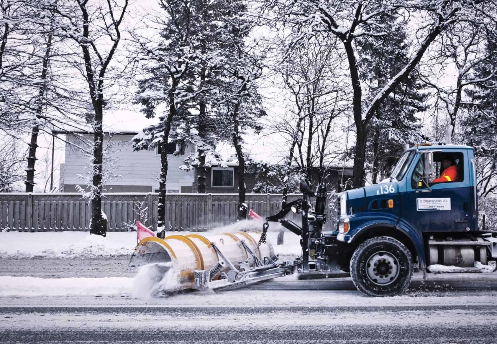 Patrick's Mobile snow plow truck plowing London Ontario streets