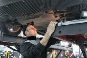 Technician working on truck